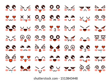 Kawaii faces. Cute cartoon emoticon with different emotions. Funny japanese emoji with eyes and mouth, comic expressions vector characters anime portrait isolated set