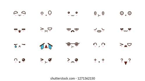 Kawaii faces expressions cute smile emoticons. Japanese emoji