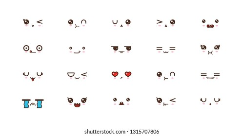 Kawaii faces expressions cute smile emoticons.