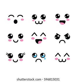 kawaii faces eyes icon
