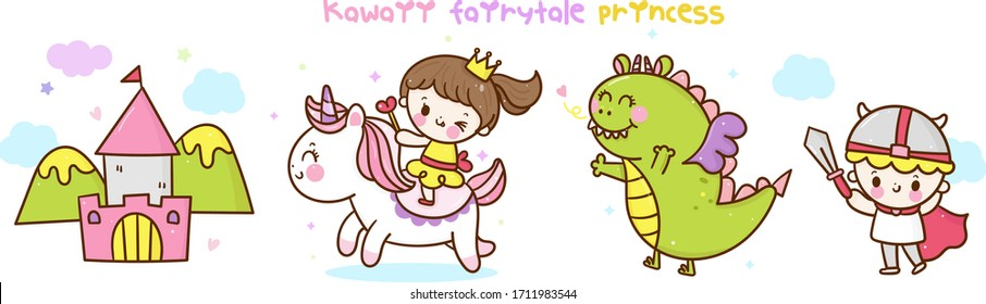 Kawaii fairy tale collection Cute Unicorn vector pony child princess dragon castle cartoon. Series: Dream magic animal. Nursery wall babies, horse character, girly doodles,hand drawn. Perfect for kid.