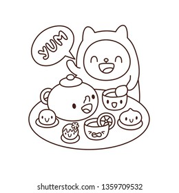 Kawaii food tea and sweets. Coloring book page. Funny cartoon cat smiling, waving paw. Teapot, cups, cakes with cute faces. Wagashi traditional japanese dessert. Comic line art vector illustration.