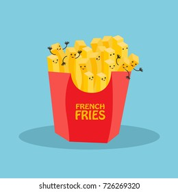 Kawaii french fries character isolated on blue background.