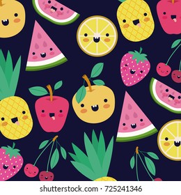kawaii fruits pattern set with face expression on dark blue color background vector illustration