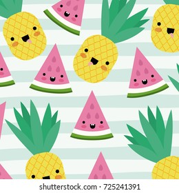 kawaii fruits pattern set with face expression on decorative lines color background vector illustration