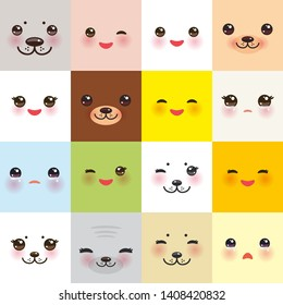 Kawaii funny muzzle set bear cat dog hare seal, animal faces collection with pink cheeks and winking eyes on square background. Can be used for greeting card design, frame for your text. Vector