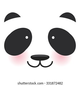 Kawaii funny panda white muzzle with pink cheeks and big black eyes  on transparent background. Vector