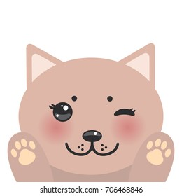 Kawaii funny pink cat muzzle with pink cheeks and winking eyes Cat's paws isolated on white background. Perfect for a greeting card, notebook, case. Vector illustration