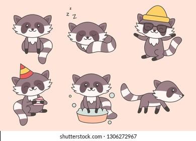 Kawaii Funny Raccoon Collection. Cute Raccoons Cartoon Character Set for Baby, Nursery, Kids Design. Happy Animals Children. Vector illustration