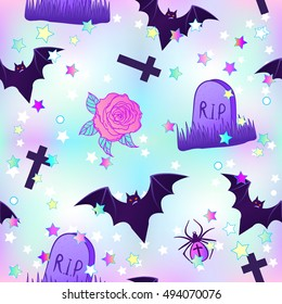 Kawaii funny spooky seamless pattern. Halloween wrapping paper background in neon pastel colors. Cute gothic style. Vanilla rainbow concept.