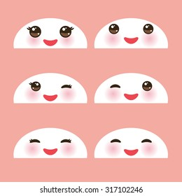Kawaii funny white muzzle with pink cheeks and winking eyes on light pink background. Vector