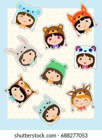 Kawaii girls in animals hats. Cute emoticon sticker set.