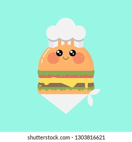 Kawaii hamburger with chef hat and white scarf on blue background.