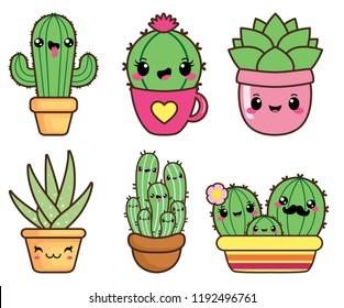 Kawaii happy succulents