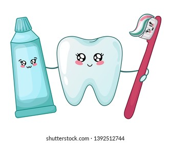 Kawaii healthy tooth and toothpaste and brush - best friends of teeth, cute cartoon characters on white, isolated objects. Dentistry and tooth brushing, oral hygiene, dental care. Vector flat