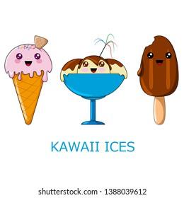 Kawaii ices. Vector illustration with happy kawaii ices