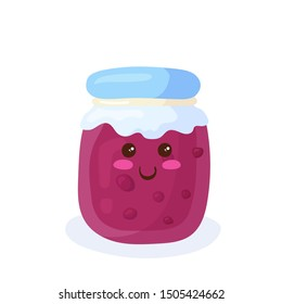 Kawaii Jam Jar vector illustration in flat cartoon style isolated on white background. Hand drawing cute food character. Kids menu funny smiling design element concept of cherry or strawberry pink jam