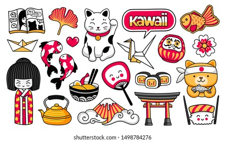 Kawaii japanese girl, maneki-neko, carps, origami, fuji, sushi, manga, ginko leaf, taiyaki fish. Set of cartoon stickers, patches, badges, pins. Vector illustration.