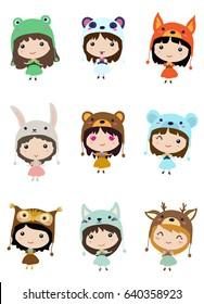 Kawaii little girls. Cute emoji children in animal costumes.