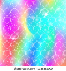 Kawaii mermaid background with princess rainbow scales pattern. Fish tail banner with magic sparkles and stars. Sea fantasy invitation for girlie party. Trendy kawaii mermaid backdrop.