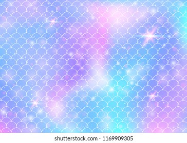 Kawaii mermaid background with princess rainbow scales pattern. Fish tail banner with magic sparkles and stars. Sea fantasy invitation for girlie party. Iridescent kawaii mermaid backdrop.