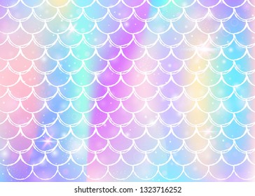 Kawaii mermaid background with princess rainbow scales pattern. Fish tail banner with magic sparkles and stars. Sea fantasy invitation for girlie party. Plastic kawaii mermaid backdrop.