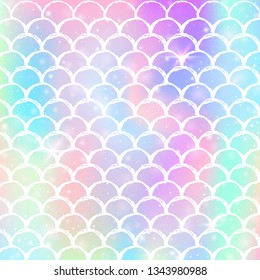 Kawaii mermaid background with princess rainbow scales pattern. Fish tail banner with magic sparkles and stars. Sea fantasy invitation for girlie party. Hipster kawaii mermaid backdrop.