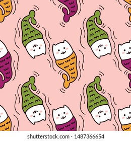 Kawaii mermaid cats swimming, super cute happy colorful seamless pattern in pink. Talk like a pirate day and halloween design for backgrounds, textile, wrapping paper and wallpaper