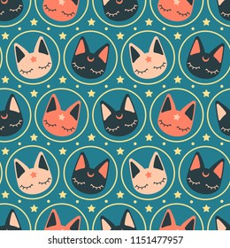 Kawaii minimal space cats seamless vector repeat pattern. Warm cold contrast. Great for apparel, susrfaces, cards or paper products.
