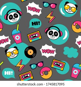 kawaii musical background with funny panda bears for print, textile, wallpaper