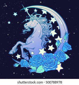 e91675f14622 Kawaii Night sky composition with Unicorn Roses,, stars and moon crescent.  Festive background