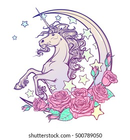 Kawaii Night sky composition with Unicorn Roses stars and moon crescent isolated on whte background. Festive background or greeting card. Pastel goth palette. Cute girly art. EPS10 vector illustration