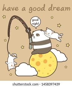 Kawaii panda and cats with a rod on the moon in cartoon style.