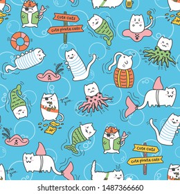 Kawaii pirate cats with bubbles, super cute, happy cartoon characters, colorful seamless pattern. Talk like a pirate day and halloween design for backgrounds, textile, wrapping paper and wallpaper