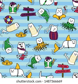 Kawaii pirate cats with stripes, super cute, happy cartoon characters, colorful seamless pattern. Talk like a pirate day and halloween design for backgrounds, textile, wrapping paper and wallpaper