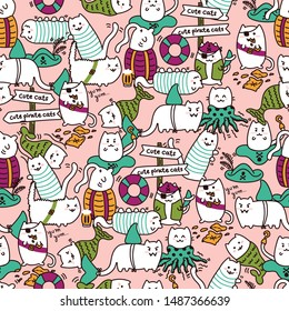 Kawaii pirate cats, super cute, happy, crowded, colorful seamless pattern in pink. Talk like a pirate day and halloween design for backgrounds, textile, wrapping paper and wallpaper