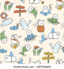 Kawaii pirate cats, super cute, happy cartoon characters, colorful seamless pattern in pastel colors. Talk like a pirate day and halloween design for backgrounds, textile, wrapping paper and wallpaper