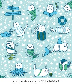 Kawaii pirate cats, super cute, happy cartoon characters, seamless pattern in greens and blues. Talk like a pirate day and halloween design for backgrounds, textile, wrapping paper and wallpaper