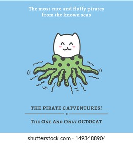 Kawaii pirate cats, super cute and fluffy, happy cartoon characters in pastel colors. Talk like a pirate day and halloween theme graphics for banners, cards, posters and games. The pirate Catventures