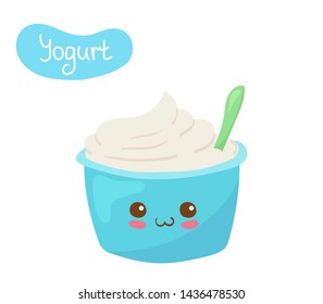 Kawaii Plain Yogurt vector character isolated on white background. Funny smiling yogurt  in plastic cup with spoon. Cute yummy dairy product mascot illustration. Kids menu concept.
