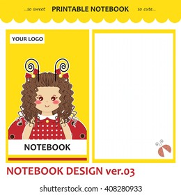 Kawaii printable notebook. Vector set of cover, paper, checked page, note design for diary, planner, notepad, copybook, letter, cards. Simple romantic illustration of ladybug curly girl, yellow color