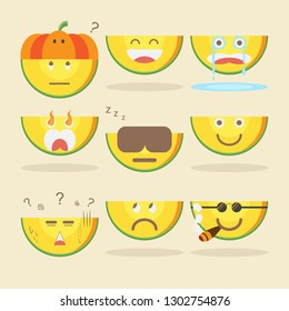 Kawaii Pumpkin with various emotions on cream background.
