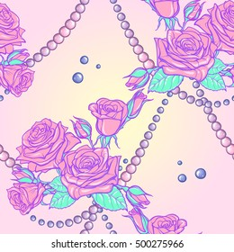 Kawaii Roses bouquets and pearl jewelry. Festive seamless pattern. Pastel goth palette. Cute girly gothic style art. EPS10 vector illustration