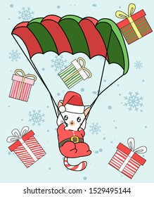 Kawaii Santa cat is flying with parachute in Christmas day.