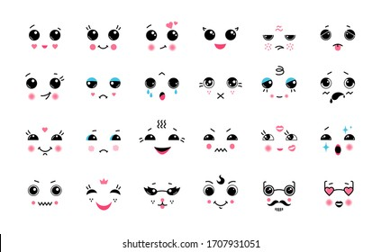 Kawaii set. Cartoon Japanese cute emoticons, smile laugh anger and cry emotions with big black eyes. Vector illustrations funny anime expressions, face element concept