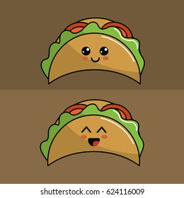 kawaii set tacos icon with beautiful expressions