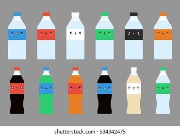 Kawaii set of vector flat soda water and bottle of water. Colorful set of fruit soda water and bottle of water. Bottle set vector