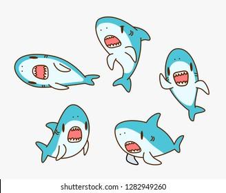 Kawaii Shark cartoon character illustration