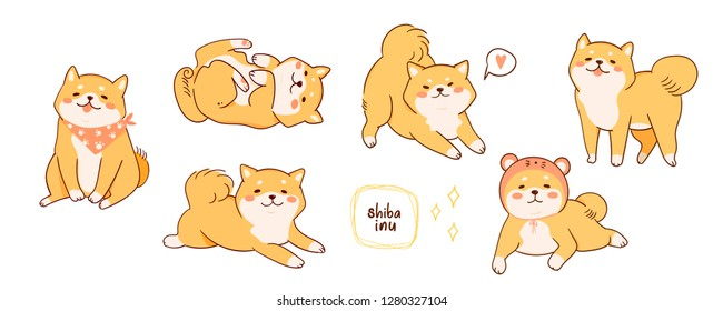 Kawaii Shiba Inu dogs in various poses. Hand drawn big colored vector set. All elements are isolated