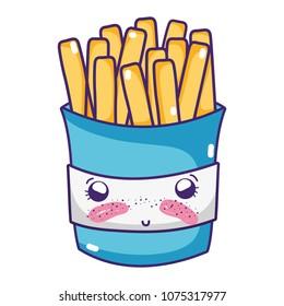 kawaii shy fries french fastfood